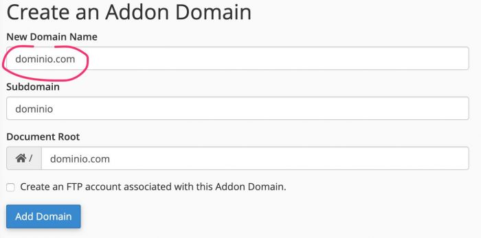 Supporthost Addon Domain Add