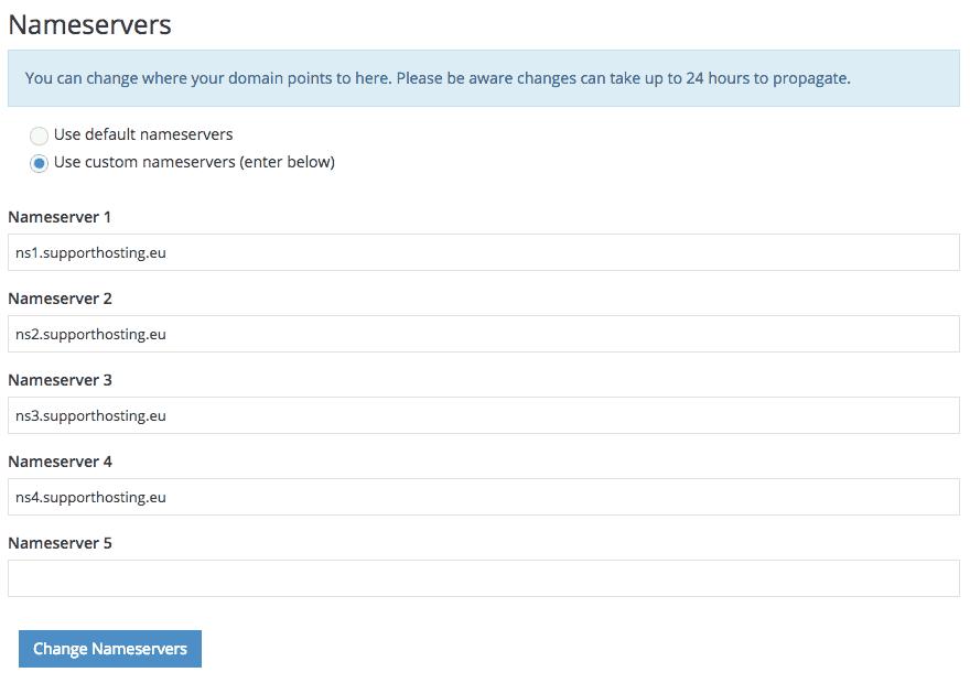 supporthost tutorial edit nameservers