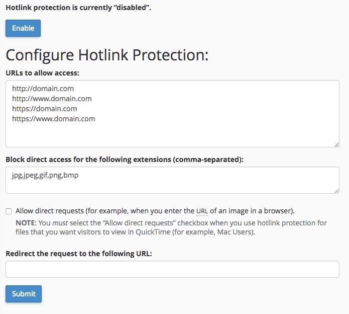 supporthost tutorial hotlink protection activation