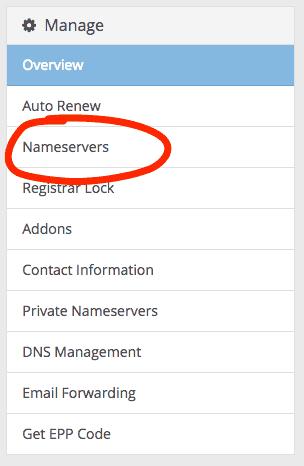 supporthost tutorial nameservers