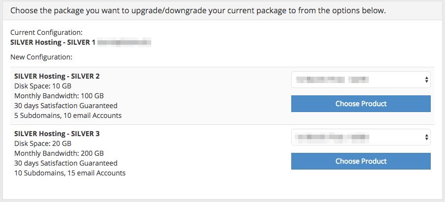 supporthost tutorial upgrade downgrade hosting