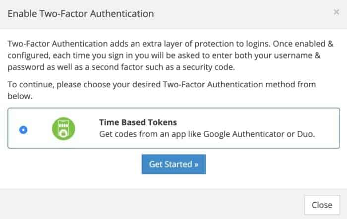 Supporthost Two Factor Authentication Step One