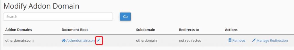 Change Document Root Addon Domain