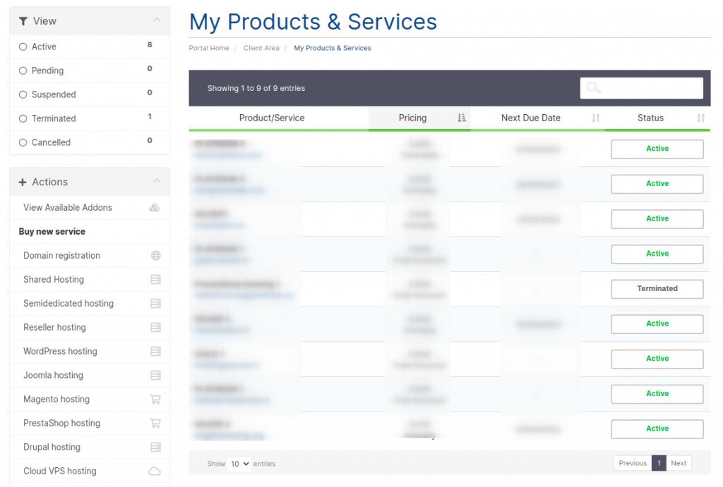 Client Area Services List