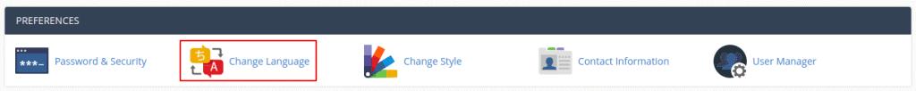 Cpanel Change Language Preferences