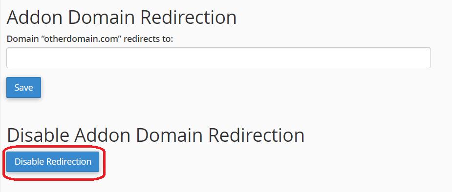 Disable Redirection Addon Domain