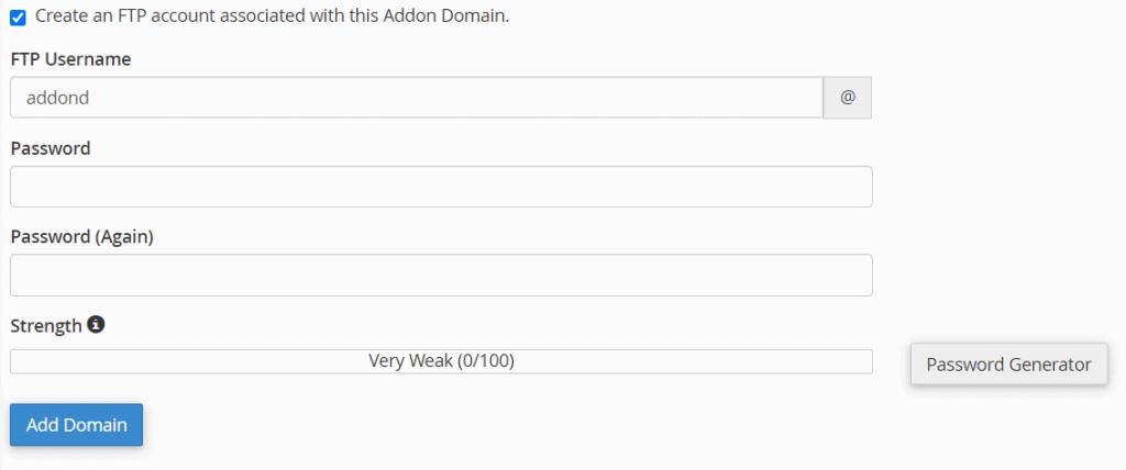 Ftp Account Addon Domain