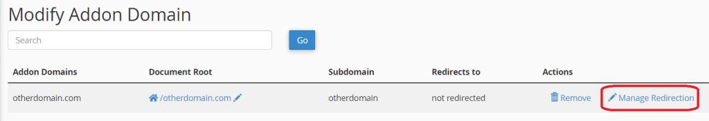 Redirection Addon Domain