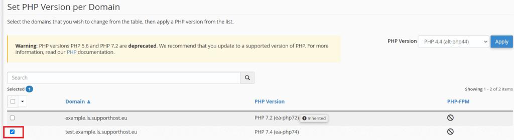 Select Php Version Per Domain