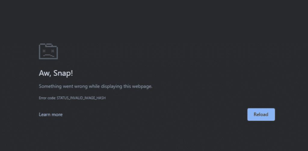 Chrome Status Invalid Image Hash