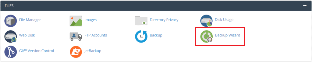 Backup Wizard Cpanel