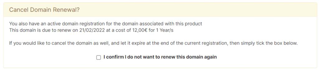 Cancel Domain Renewal