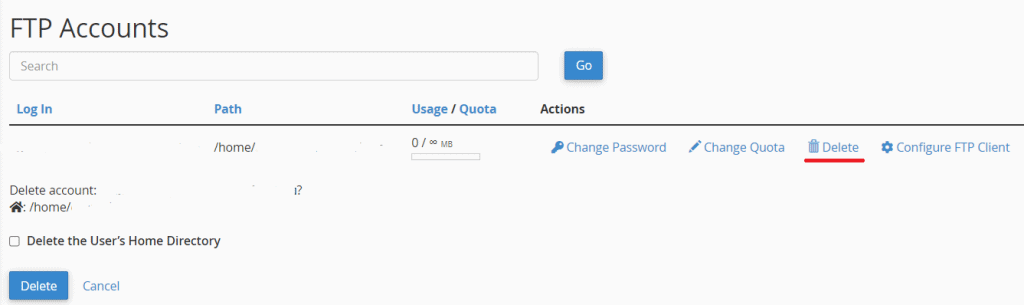Delete Ftp Account