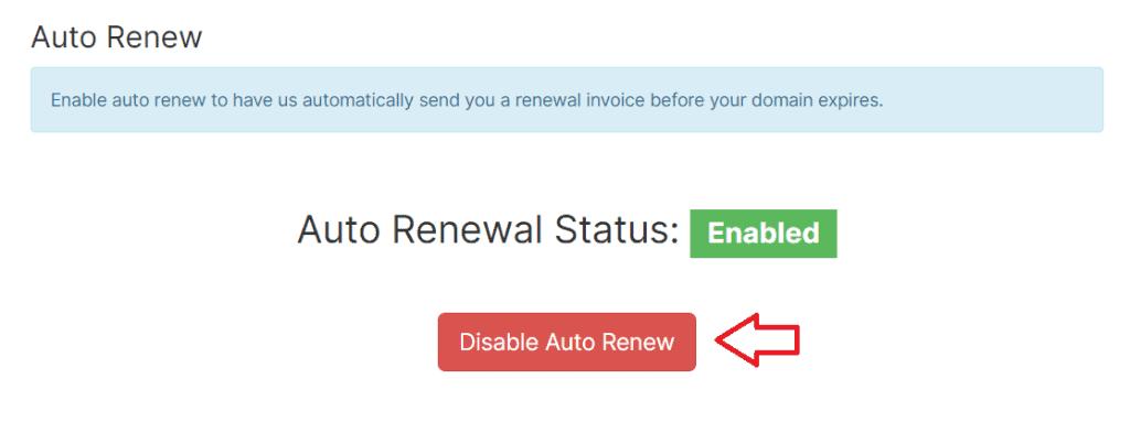 Disable Auto Renew Domain