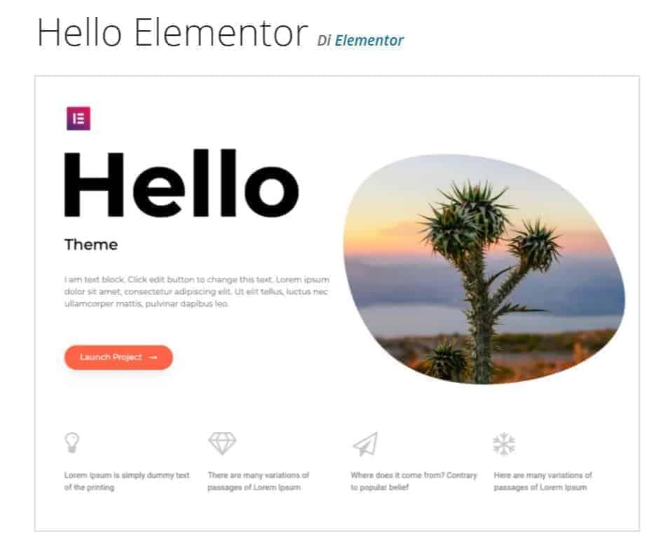 Elementor Theme Hello