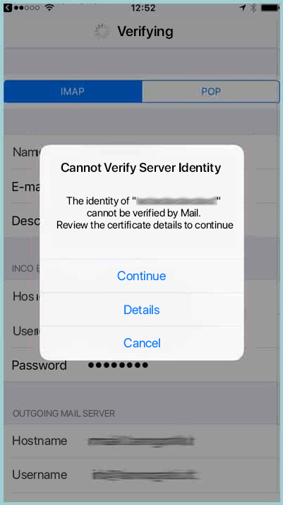 Email Certificate Cannot Verify Server Identity