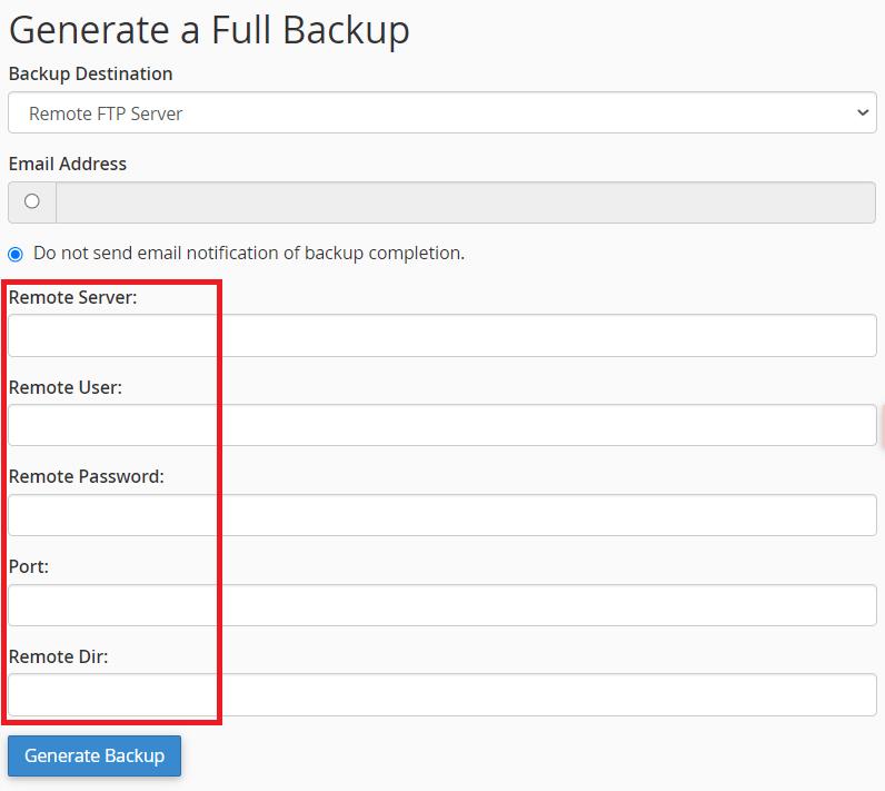 Full Backup Ftp