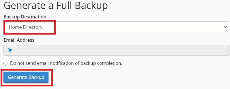 Generate A Full Backup