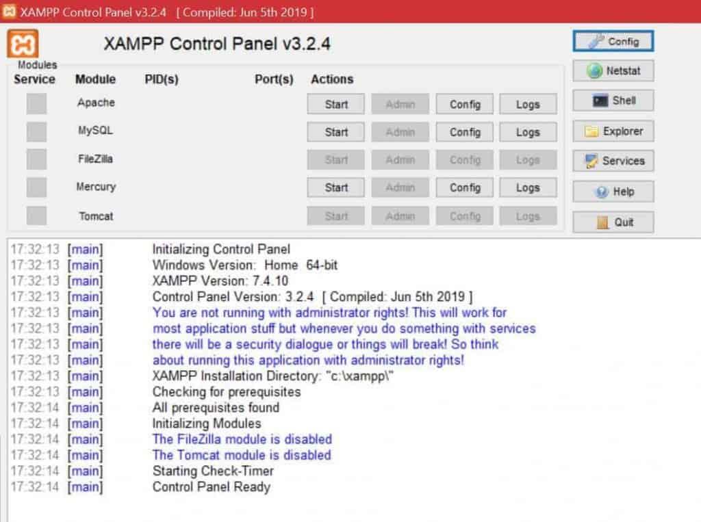 Localhost Xampp Control Panel