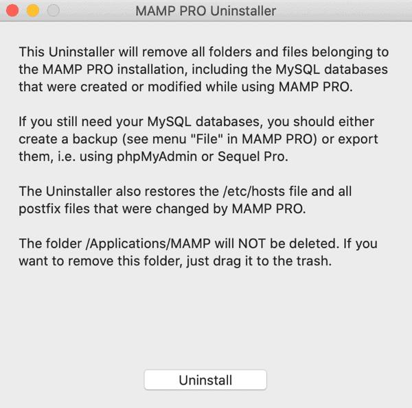 Mamp Confirm Uninstalling