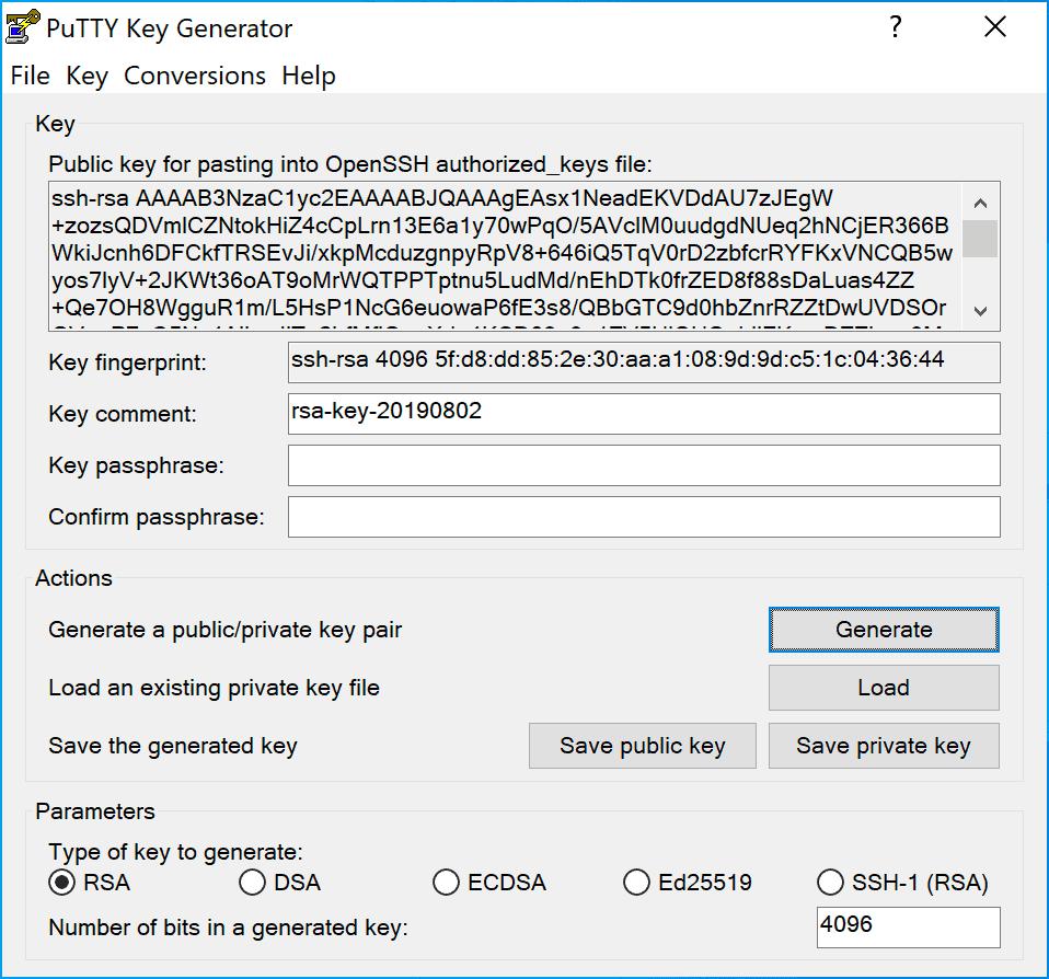 Putty Key Generated