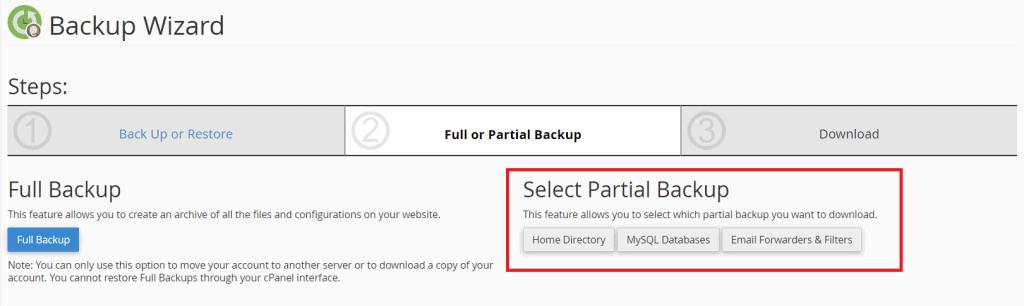 Select Partial Backup
