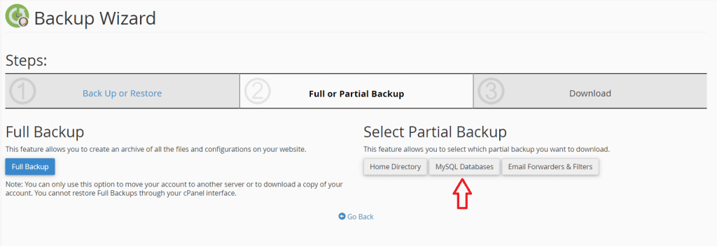 Select Partial Backup Database