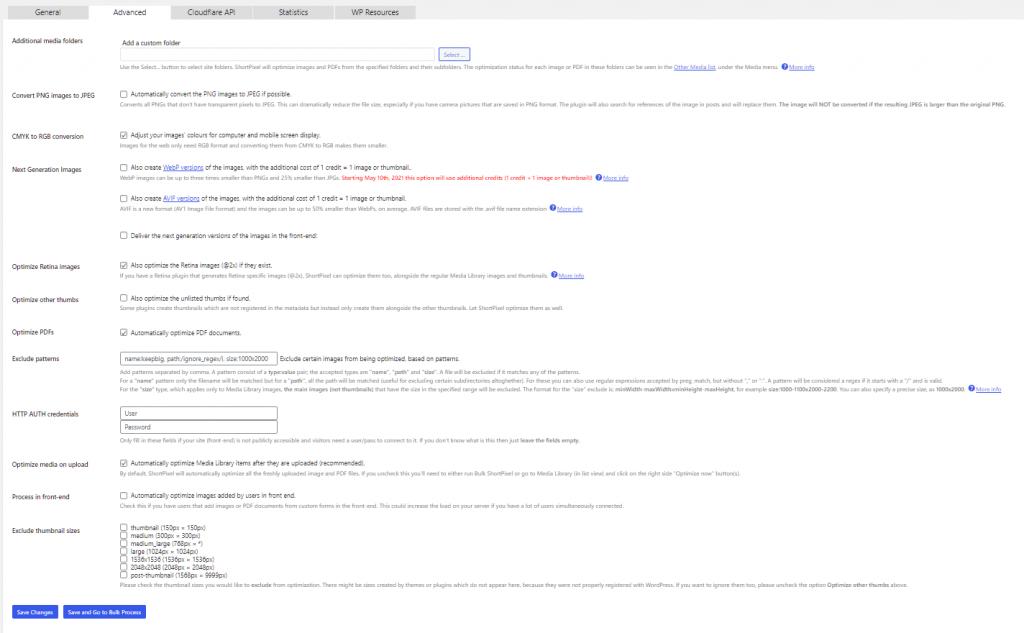 Wordpress Image Optimizer Shortpixel Advanced Settings
