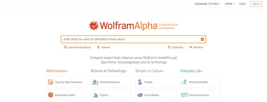 Alternative Search Engine Wolframalpha