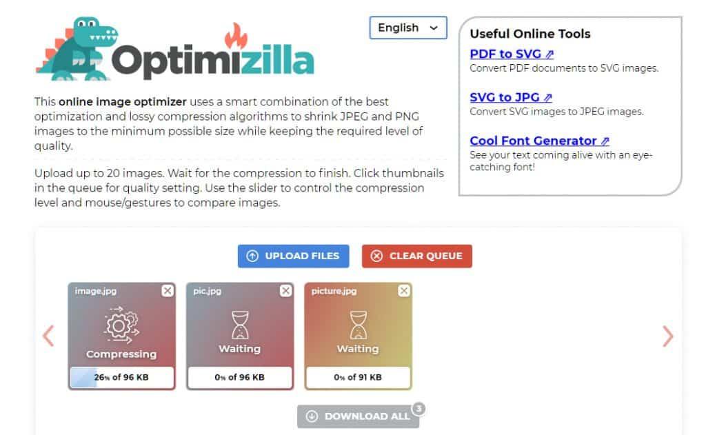 Optimizilla How Compress Images