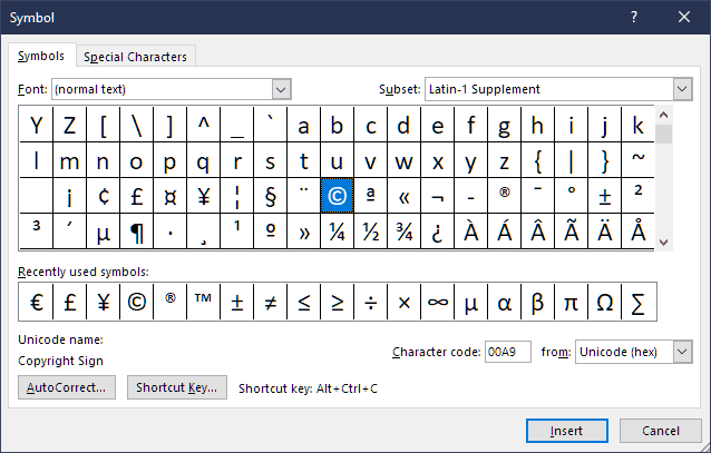 Special Characters Character Map