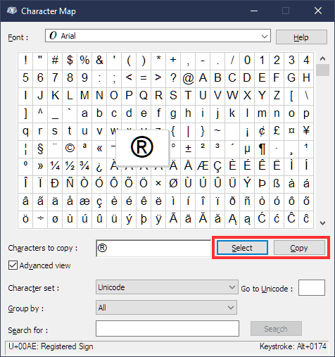 Special Characters Characters Map Select