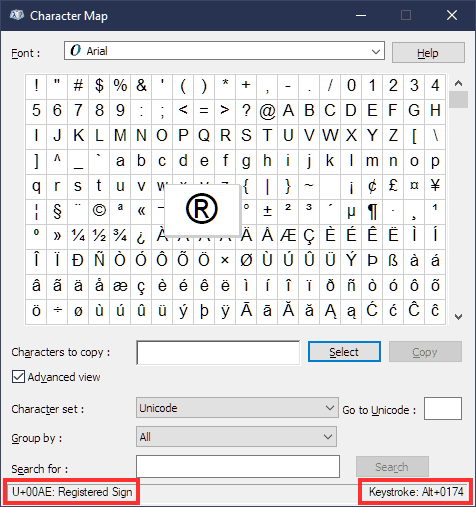 Special Characters Characters Map Unicode