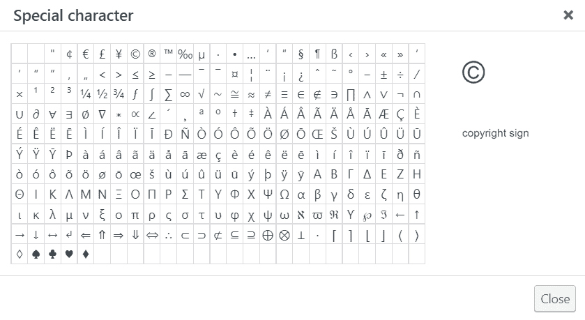 Special Characters Characters Map WordPress