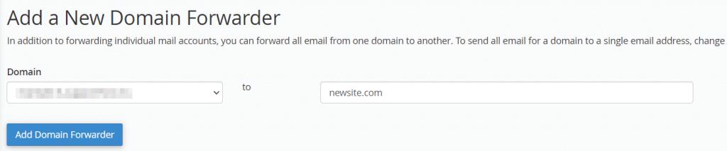 Add A New Domain Forwarder