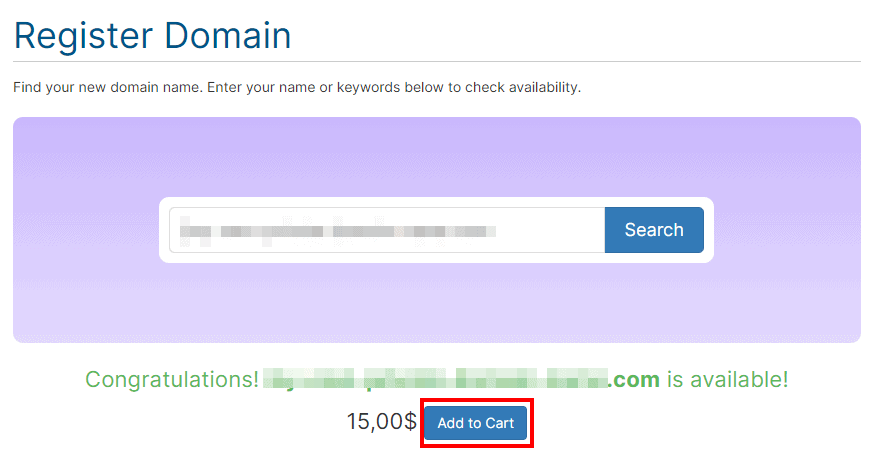 Add Domain To Cart