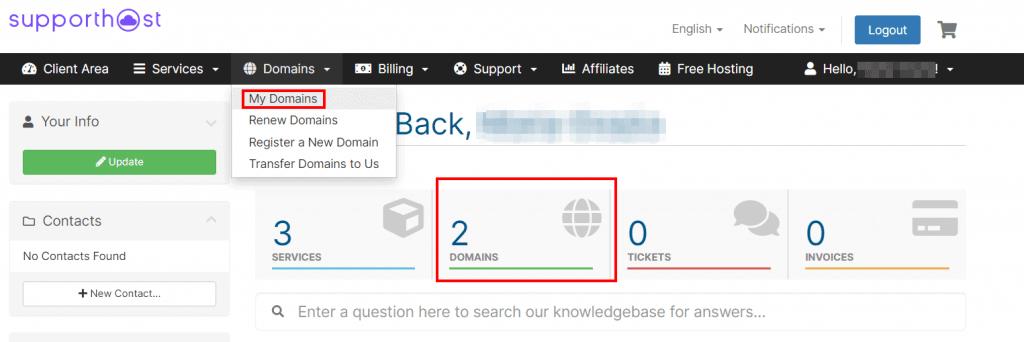 Client Area My Domains