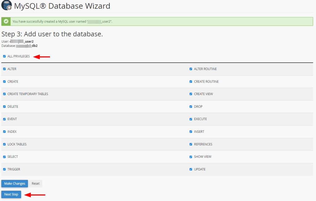 Create Database Wizard Step 3