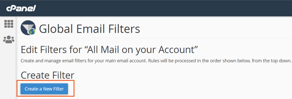 Create New Global Email Filters