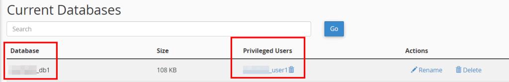 Current Databases Access Mysql Database