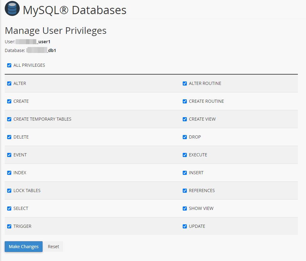 Database Manage User Privileges