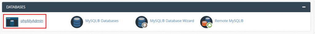 Databases Phpmyadmin Cpanel