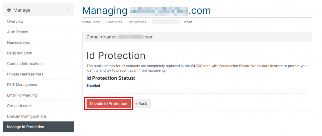 Disable Id Protection