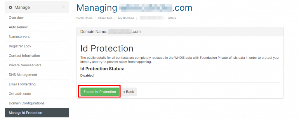 Domain Management Enable Id Protection