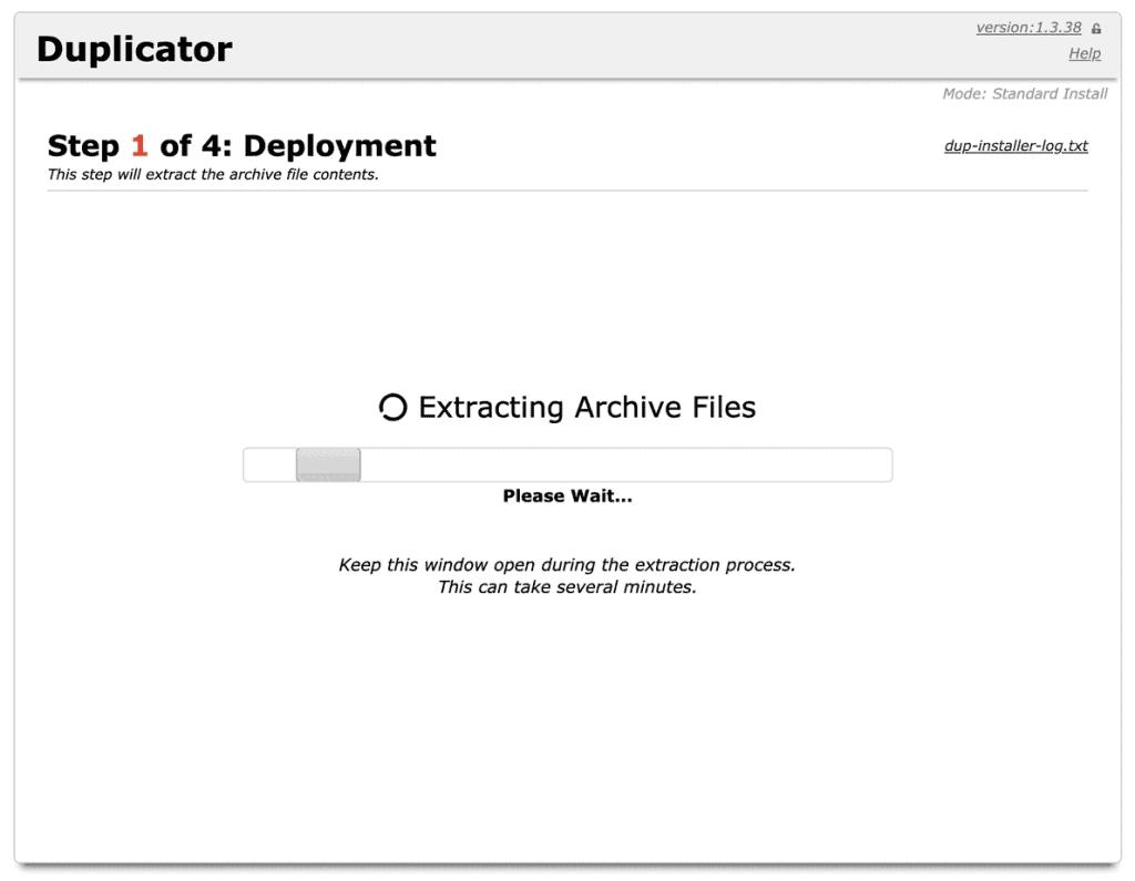 Duplicator Extracting Files