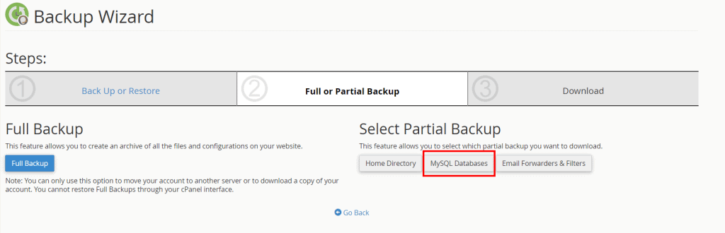 Export Database Partial Backup