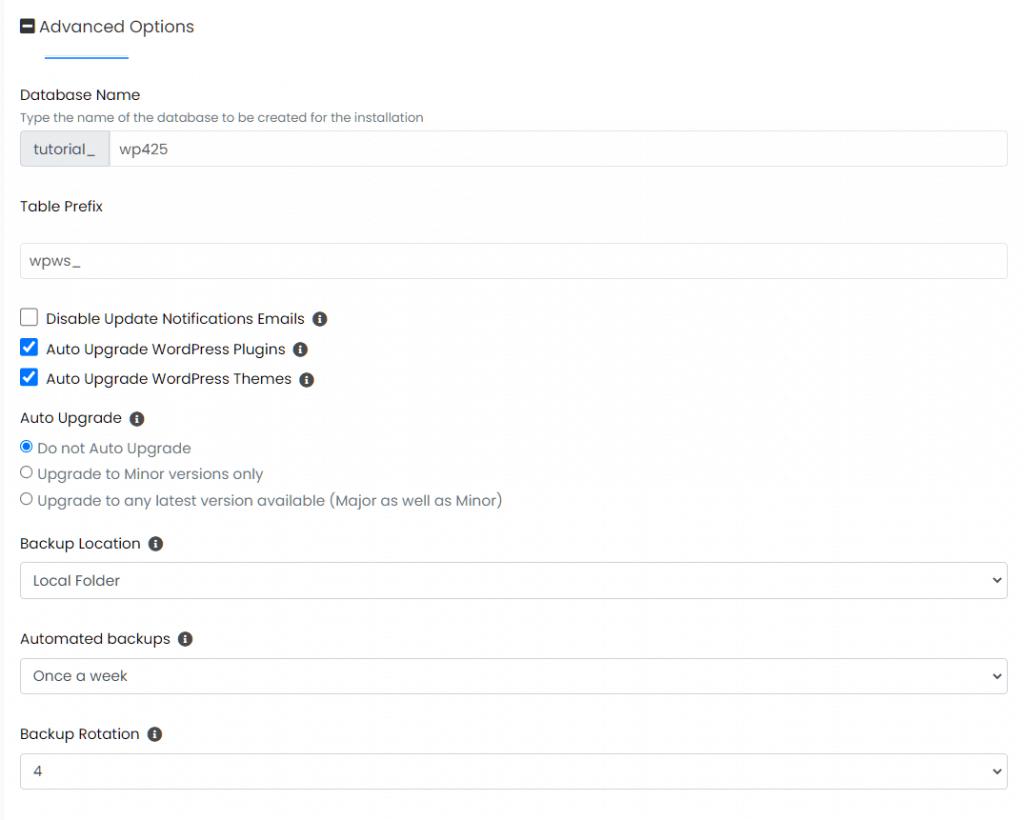 Install WordPress Softaculous Advanced Options