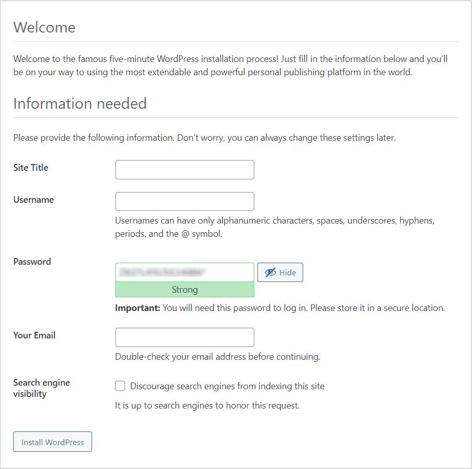 Install WordPress Wp Installation Process