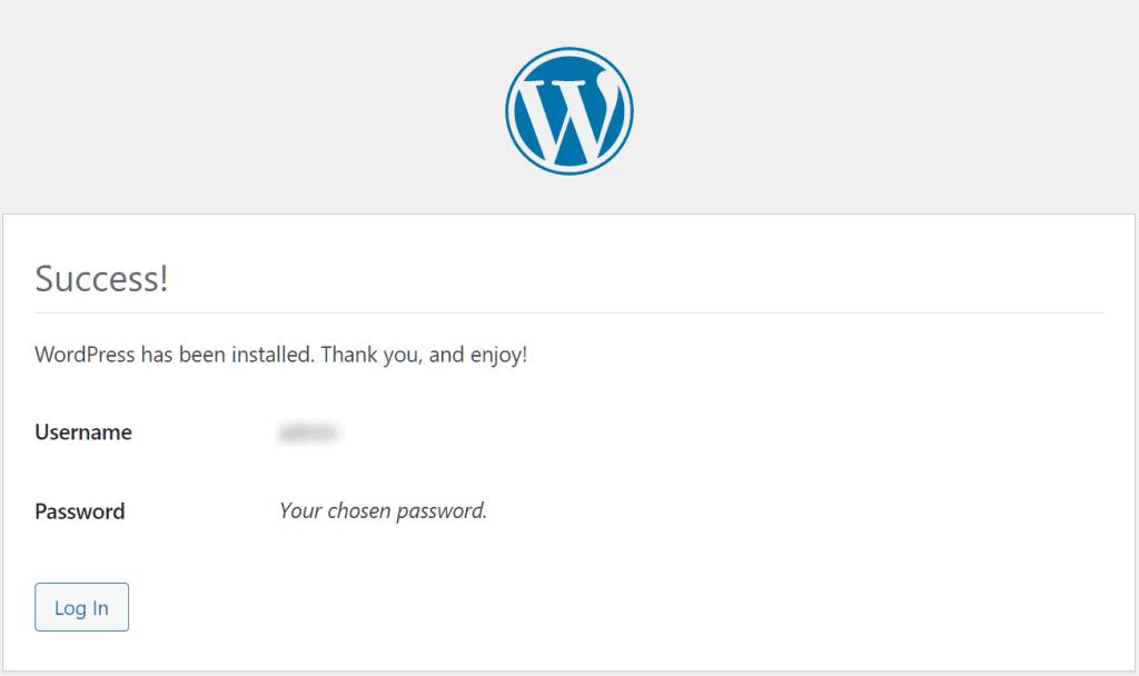 Install WordPress Wp Installed
