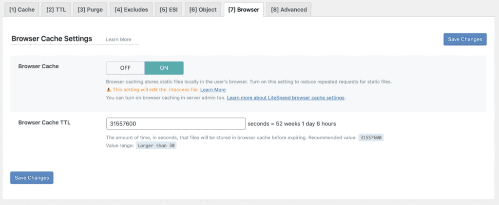 Litespeed Cache Browser Settings